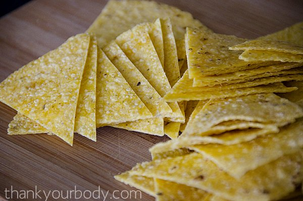 Homemade sprouted tortilla chips featuring five favorite dips!