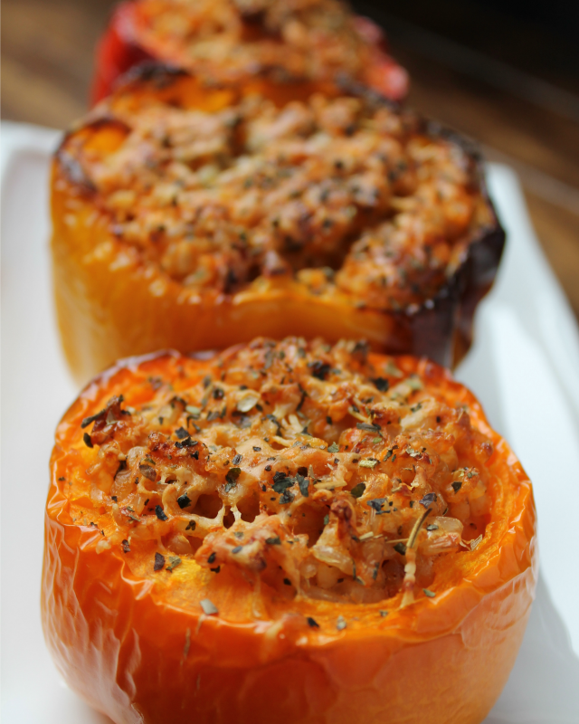 Vegetarian stuffed bell peppers! So easy and so good.
